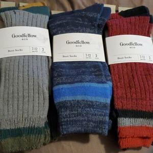 Mens Boot Socks Ultra Soft Size 7-12/ 3 packs of 2